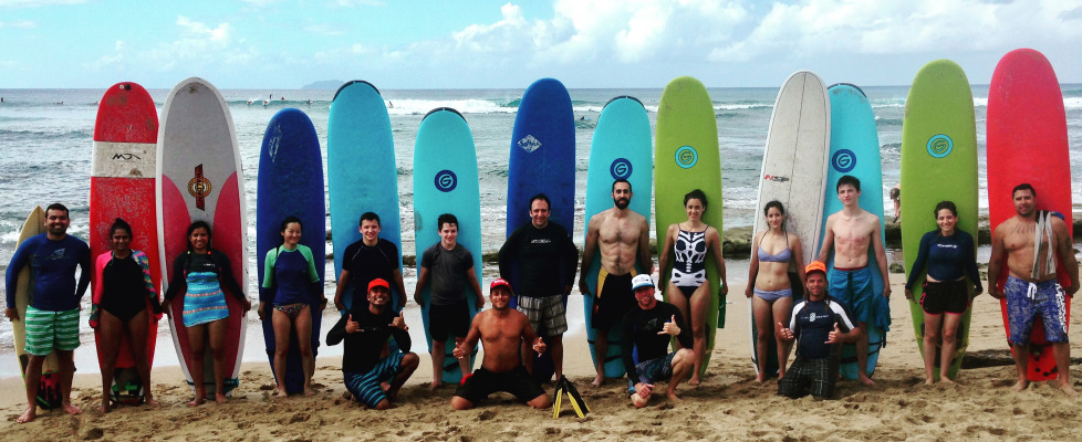 Group surf lessons where everone has fun in Rincon, Puerto Rico!